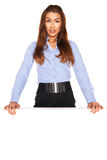 Office employee behind a white board Stock Image