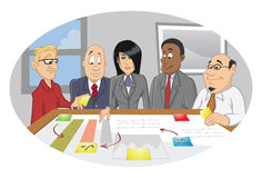Office employee brainstorming session. Cartoon illustration of an office employee brainstorming session Royalty Free Stock Photo