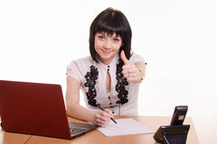 Office employee call-Centras smile shows class Royalty Free Stock Image