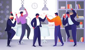Office Employee Characters Rejoice for New Project stock illustration