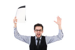 The office employee holding paper  Royalty Free Stock Photography
