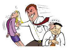 Office employee jerk. Cartoon illustration of a mean office employee pushing co-workers Royalty Free Stock Image