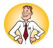 Office employee proud. Cartoon illustration of a proud office employee stock illustration