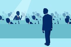 Office employee raising a question to a boss manager stock illustration
