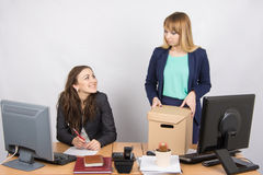 Office employee satisfied dismissal colleagues Royalty Free Stock Photo