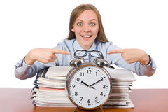 Office employee showing alarm clock isolated on Royalty Free Stock Image