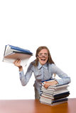 The office employee at work table with documents Royalty Free Stock Images