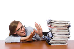 Office employee at work table with documents Stock Image