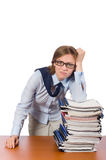 The office employee at work table with documents Stock Photos