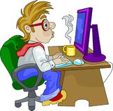 An office employee working overtime Stock Image
