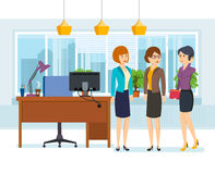 Office employees in strict business clothes, work with documents. vector illustration
