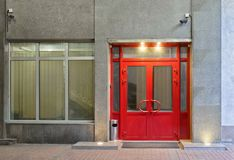 Office entrance with security system. Office entrance equipped with security system at night Stock Photography