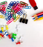 Office equipment. Office equipment includes a variety of colors stock images