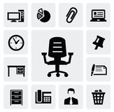 Office equipment. Vec tor black office equipment icon set on gary Stock Photo