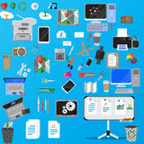 Office equipment big. Set of various financial service items,  marketing items and office equipment. Colorful icons on blue background computer,printer, laptop Royalty Free Stock Photography