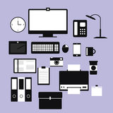 Office equipment. Black internet and media office equipment Stock Images