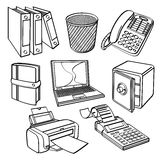 Office equipment Collection. Different kinds of office equipment in sketch style. It contains hi-res JPG, PDF and Illustrator 9 files Royalty Free Stock Photos