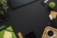 Office Equipment And Computer Keyboard Arranged On Gray Desk Stock Photography