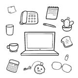 Office equipment doodle drawing  illustration Royalty Free Stock Photos