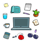 Office equipment doodle style  illustration Stock Photography