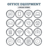 Office equipment icons. Computer and printer. Stock Images