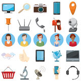 Office equipment icons set, cartoon style Royalty Free Stock Image