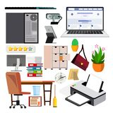 Office Equipment Set Vector. Computer, Laptop, Monitor. Icons. Business Workspace. Hardware And Gadgets. Elements royalty free illustration
