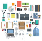 Of Office Equipment, Travel Gadget and Hobby Icon. Icon Set of Office Equipment, Travel Gadget and Hobby in Flat Design, Vector royalty free illustration
