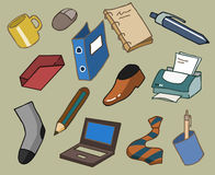 Office equipments. Hand drawn Vector illustration Stock Images