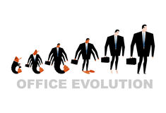 Office Evolution. Office plankton turns into boss.  Royalty Free Stock Photography