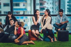 Office executives having relax in different manner. In office royalty free stock images
