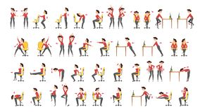Office exercise set. Body workout for office. Worker. Neck, shoulder and back stretch. Isolated vector cartoon illustration vector illustration