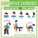 Office exercises with businessman character. Vector infographic. Office exercises with businessman character. Relax exercise, infographic health exercise, man Royalty Free Stock Photography