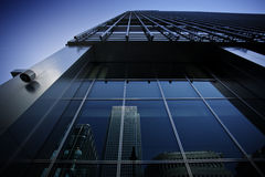 Office exterior. Cityscape featuring modern office exterior from a low angle at sunset Stock Photo