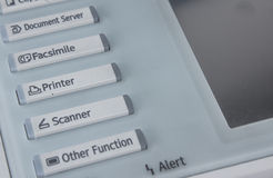 Office , fax, copy machine, start button close up Stock Photos