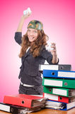 Office fight concept with female worker. The office fight concept with female worker royalty free stock photo
