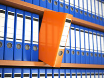 Office file binders on shelf. Archive. 3d Stock Images