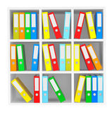 Office File Folders standing on the Shelves. On a white background Royalty Free Stock Image