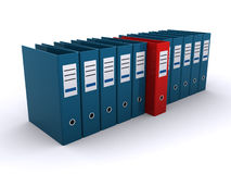 Office files. Bunch of office files lined up on a white background with a red one in the middle (3d render Stock Images