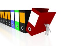 Office files with 3d person Royalty Free Stock Photos