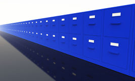 Office filing cabinets. A long row of blue office filing cabinets with white labels stock illustration