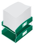 Office Filing Tray. Vector illustration of an office paper filing tray with both in and out trays Stock Photos