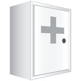 Office first aid kit. White cabinet with lockable door. Vector illustration Royalty Free Stock Images
