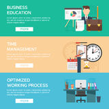 Office Flat Banner Set. Horizontal office flat banner set with description of business education time management and optimized working process vector Stock Images