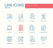 Office - flat design line icons set Stock Images