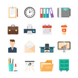 Office Flat Icon Set. With elements and equipments of working day in office businessman in suit vector illustration Stock Images