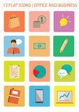 Office Flat Icons. Set of office and business flat icons Royalty Free Stock Image