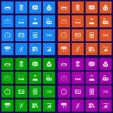 Office flat icons set Stock Photos
