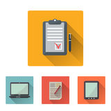 Office flat icons set with long shadow stock illustration