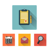 Office flat icons set with long shadow Royalty Free Stock Photos